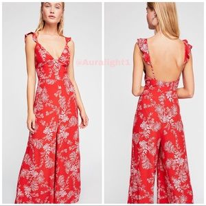 Free People Maxi Jumpsuit Wide Leg Red Floral